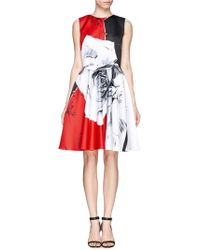 Prabal Gurung Colour Block Rose Print Sateen Dress - Lyst