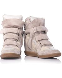 Isabel Marant Bekett Suede And Leather Wedge Trainers - Lyst