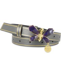 Patrizia Pepe - Low Waist Leather Belt with Purple Butterfly - Lyst