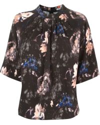 MSGM Printed Short Sleeve Blouse - Lyst