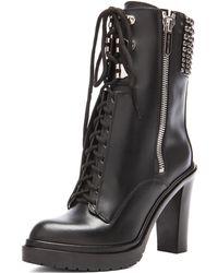 Sergio Rossi Rockstar Leather Booties - Lyst