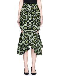 Givenchy   Jaguar Print Cutout Waterfall Hem Skirt   Lyst