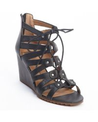 Dv By Dolce Vita Black Leather Rhoda Buckle Accent Strappy Cage Wedge Sandals - Lyst