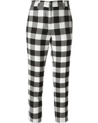 MSGM Cropped Checkered Trousers - Lyst
