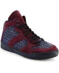 Bottega Veneta Intrecciato Suede Hitop Sneakers - Lyst