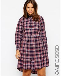 Asos Curve Exclusive Skater Dress With Button Through In Check Print - Lyst