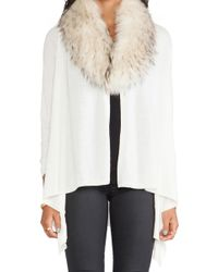 Alice + Olivia Izzy Cascade Cardigan with Fur Collar - Lyst