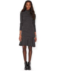 Lauren by Ralph Lauren Striped Cotton Peplum Dress - Lyst