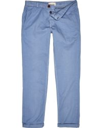 River Island Blue Casual Rolled Up Pants - Lyst