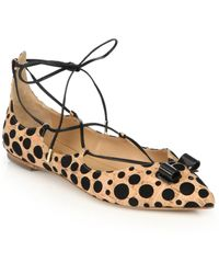 Ferragamo | By Edgardo Osorio Claire Spotted Cork Lace-up Flats | Lyst