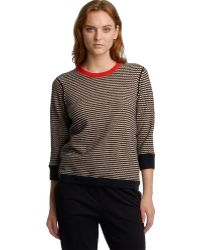 Halston Heritage Long Sleeve Crew Neck Sweater W Contrast Color Neck Trim - Lyst