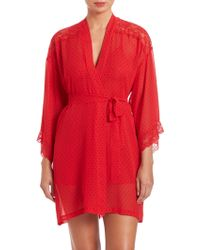 In Bloom | Lace-detail Polka Dot Wrapper Robe | Lyst