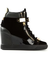 Giuseppe Zanotti Golden Strap Wedge Sneakers - Lyst