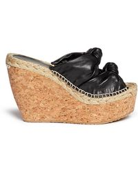 Jimmy Choo 'Priory' Cork Wedge Knot Leather Sandals black - Lyst