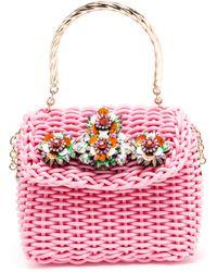 Shourouk Basket Bag With Swarovski Embellishment - Lyst