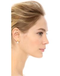 Kacey K - Cultured Freshwater Pearl And Ball Earrings - Gold/Pearl - Lyst
