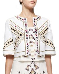 Elle Sasson Billy Embroidered Cropped Open Jacket - Lyst