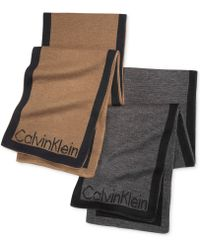 Calvin Klein Jacquard Logo Reversible Muffler Scarf - Lyst