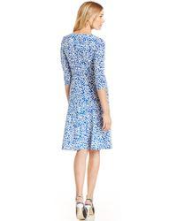 Maggy London - Printed Fauxwrap Dress - Lyst