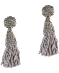 Oscar de la Renta Short Silk Tassel Earrings - Lyst