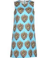 Dolce & Gabbana 'Sacred Heart' Print Brocade Dress green - Lyst