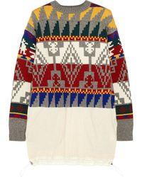 Sacai - Intarsia Wool-blend Jumper Dress - Lyst