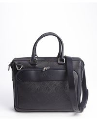 Ferragamo Navy Gancio Crosshatched Leather Apollo Briefcase - Lyst