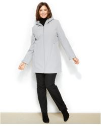 Calvin Klein Plus Size Hooded Softshell Coat - Lyst