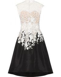 Oscar de la Renta Lace and Silk Dress - Lyst
