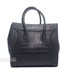 Celine Preowned Black Croc Embossed Leather Small Phantom Tote - Lyst