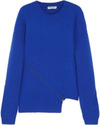 Opening Ceremony Zipdetailed Ribbed Wool Sweater - Lyst