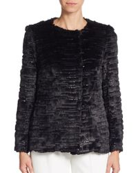 Milly | Sequined Faux Fur Coat | Lyst