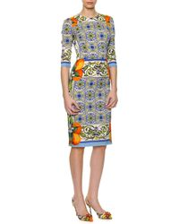 Dolce & Gabbana Tile Print Fitted Silk Dress - Lyst