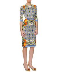 Dolce & Gabbana Tileprint Fitted Silk Dress - Lyst