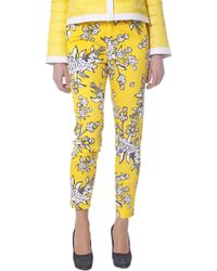 RED Valentino Red-Valentino-Smocked-Cotton-Pants-With-Floral-Pattern - Lyst