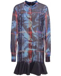McQ by Alexander McQueen Silk Ruffle Shirt Dress - Lyst