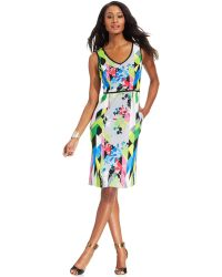 Nine West Sleeveless Printed Sheath Dress - Lyst