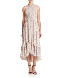 Rebecca Taylor Sum Leo Silk Hi-Lo Dress pink - Lyst