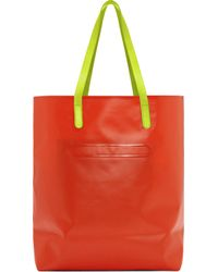 Marc By Marc Jacobs White and Orange Luna Tarp Fergus Tote - Lyst