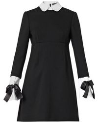 Alexander McQueen Collar and Cuff Trimmed Dress - Lyst