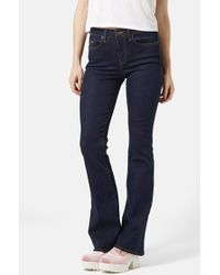 Topshop Moto Flare Jeans blue - Lyst