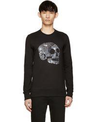 Markus Lupfer | Black Sequinned Skull James Sweatshirt | Lyst
