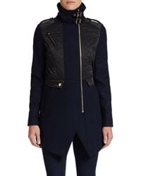 French Connection Quilted Mixed-Media Coat - Lyst