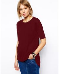 Asos Rib Short Sleeve Top - Lyst