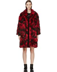 Jay Ahr Red and Black Faux_fur Overcoat - Lyst