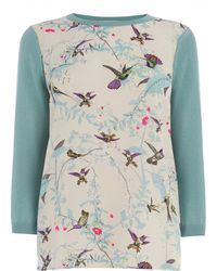 Oasis Bird Print Woven Top - Lyst