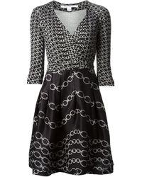 Diane Von Furstenberg Chain Print Wrap Dress - Lyst