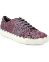 Lanvin Crackle-Printed Low-Top Leather Sneakers - Lyst