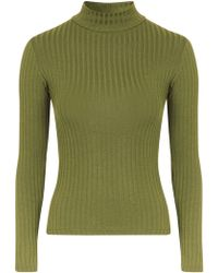 Topshop | Wide Rib Funnel Neck | Lyst