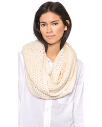 Alice + Olivia - Alice + Olivia Imitation Pearl Knit Infinity Scarf - Cream - Lyst